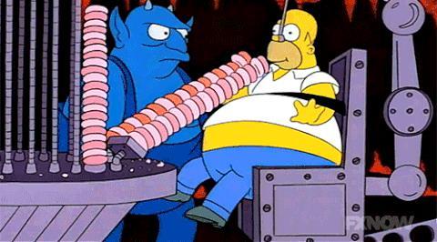 Homer turba il diavolo continuando a mangiare ciambelle all'infinito