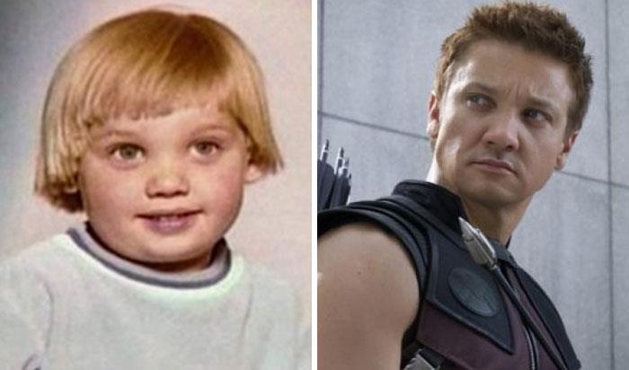 Jeremy Renner (Occhio di Falco) da bambino e nei film Marvel