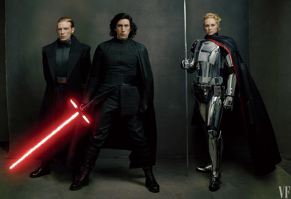 Gli Ultimi Jedi: Domhnall Gleeson, Adam Driver e Gwendoline Christie nei panni del Generale Hux, di Kylo Ren e del Capitano Phasma