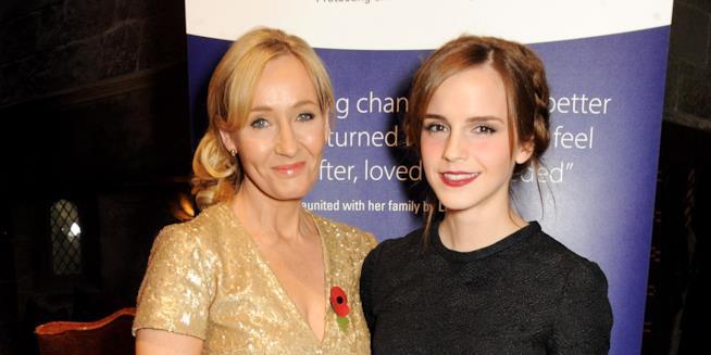 Primo piano di Emma Watson e J.K. Rowling