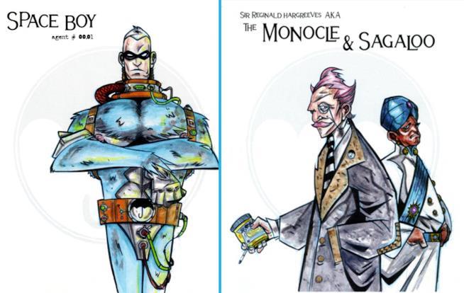 Space Boy, Hargreeves e il suo assistente disegnati da Gerard Way