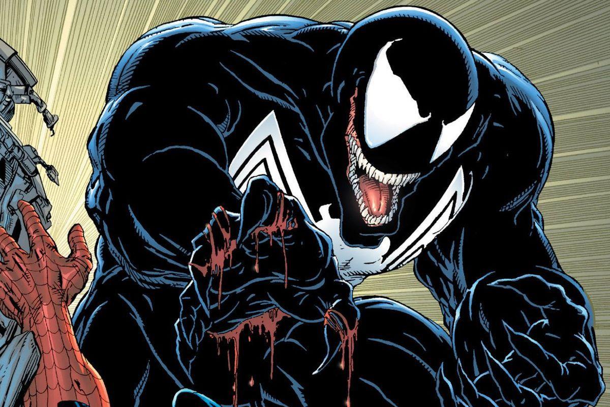 Estratto dell'illustrazione di una lotta tra Venom e Spider-Man