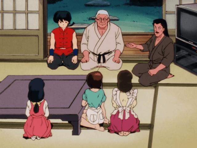 Ranma e suo padre riuniti con la famiglia Tendo