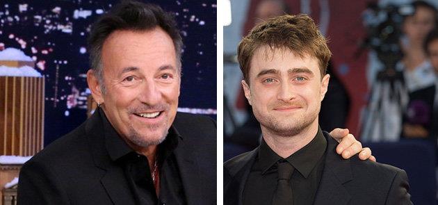 Un simulato abbraccio tra Bruce Springsteen e Daniel Radcliffe