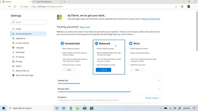 Le nuove opzioni per la privacy di Microsoft EDGE
