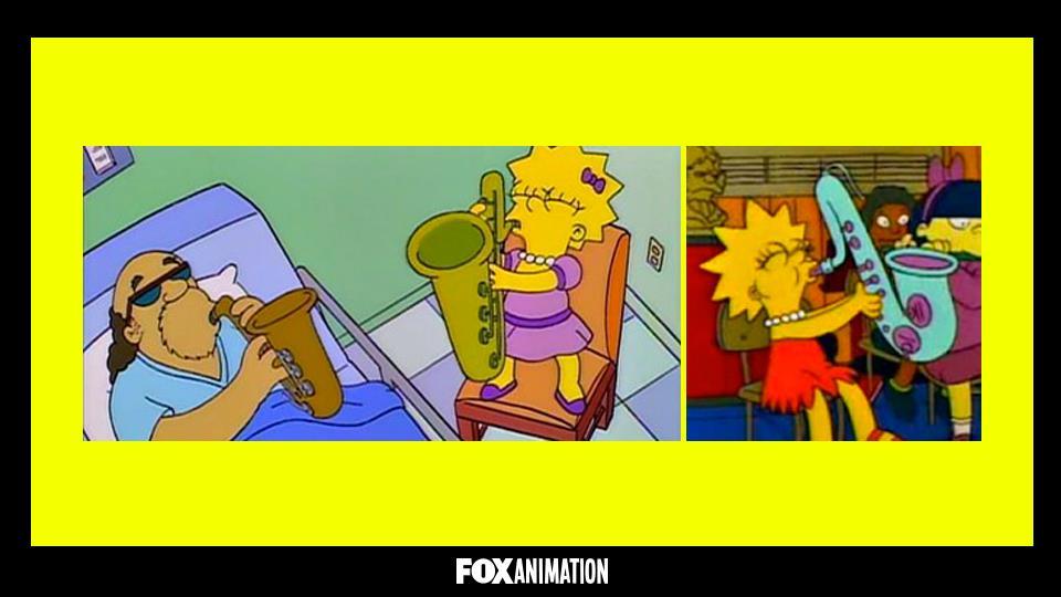 Perché nella sigla Lisa suona un sax blu e una dorato nei singoli episodi?