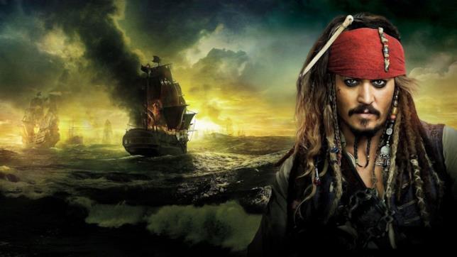 Jack Sparrow e un galeone in fiamme