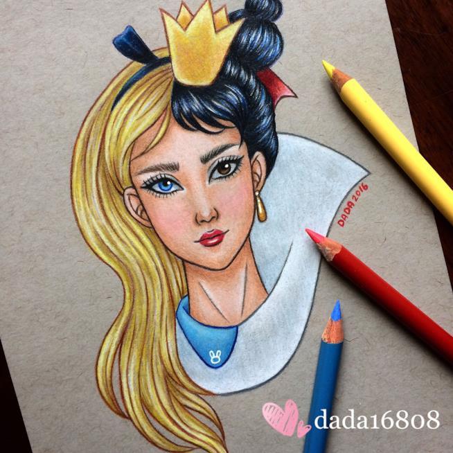 Uno dei mash-up di Dada: Alice e la Regina di Cuori