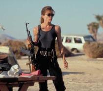 Linda Hamilton nei panni di Sarah Connor in Terminator 2 - Il giorno del giudizio