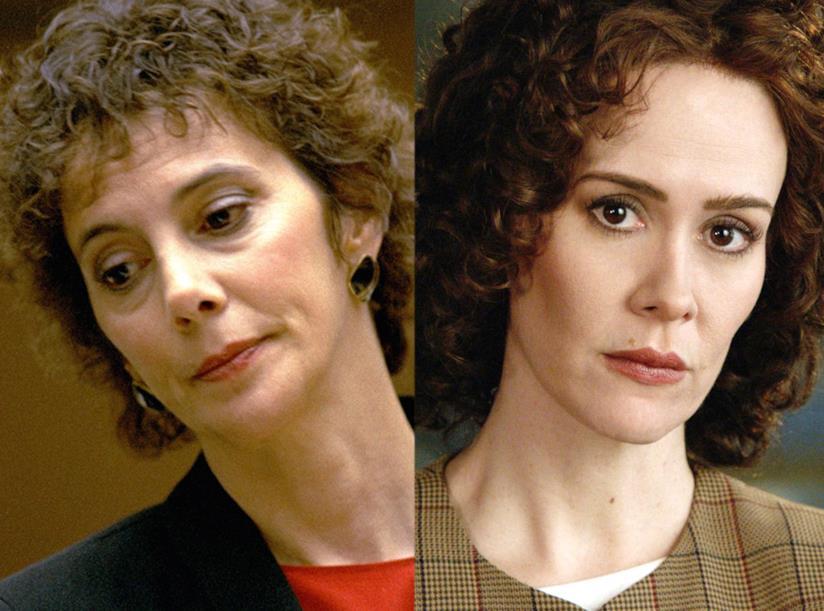 Marcia Clark accostata a Sarah Paulson che la interpreterà in American Crime Story