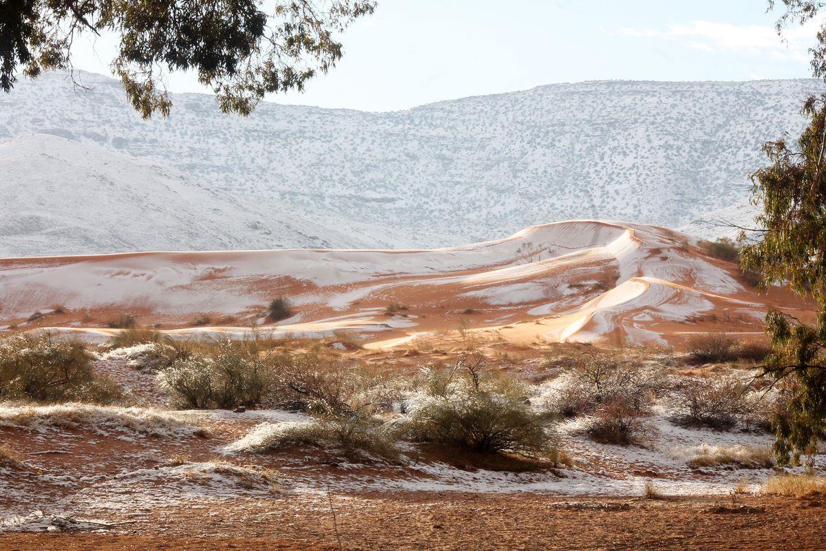Una delle dune del deserto del Sahara innevata,  Algeria