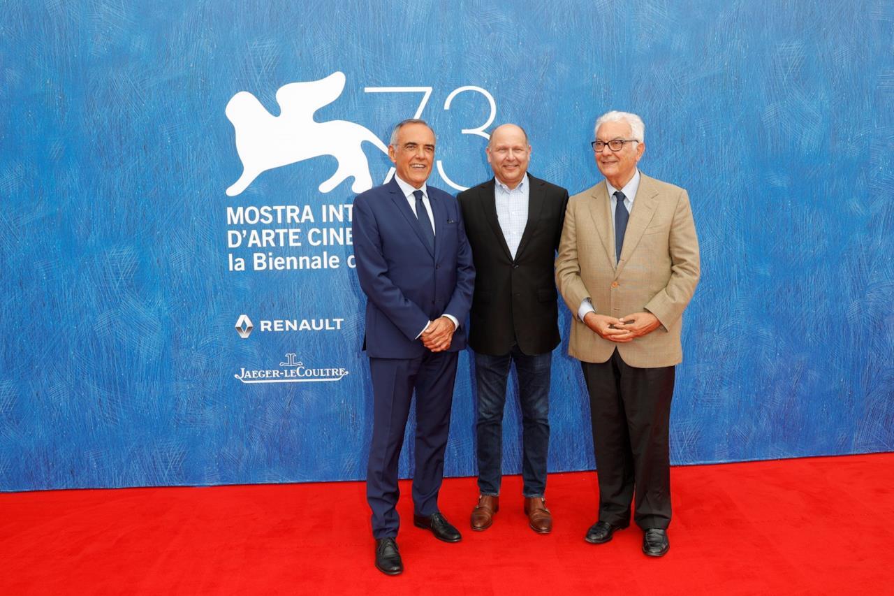 Chris Meledandri, Alberto Barbera e il presidente del Festival di Venezia Paolo Baratta