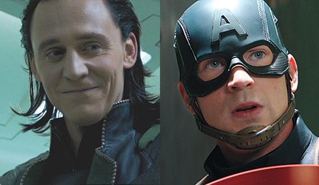 Un primo piano di TomHiddleston nei panni di Loki e di Chris Evans in quelli di Captain America