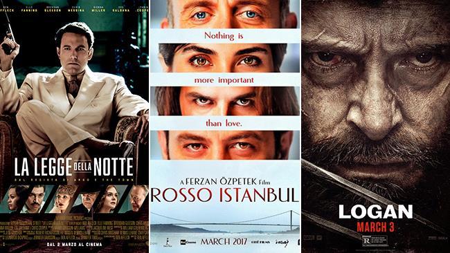 Le locandine dei film La Legge della Notte, Rosso Istanbul, Logan