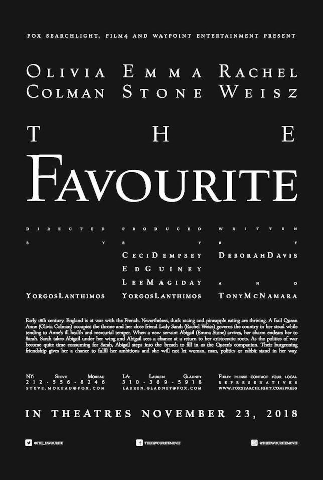 Il poster ufficiale de La favorita