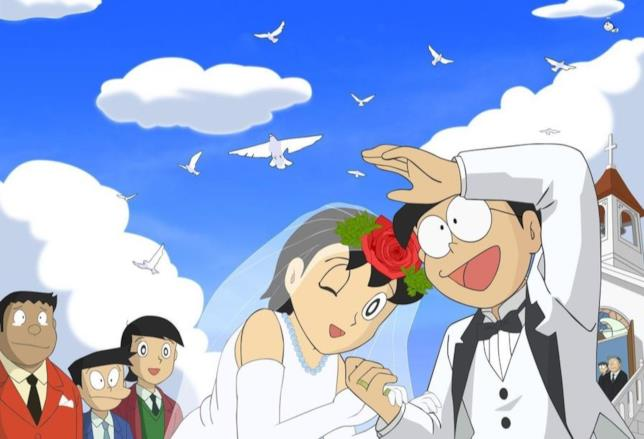 Nobita e Shizuka sposi