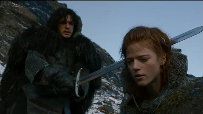 Kit Harington e Rose Leslie sul set di Game of Thrones