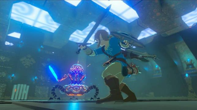 Link in una sequenza di combattimento da The Legend of Zelda: Breath of the Wild
