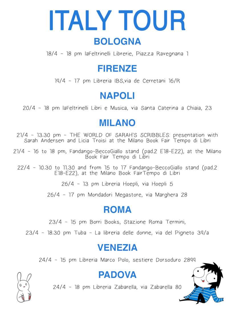 Le tappe del tour italiano di Sarah Andersen dell'aprile 2017