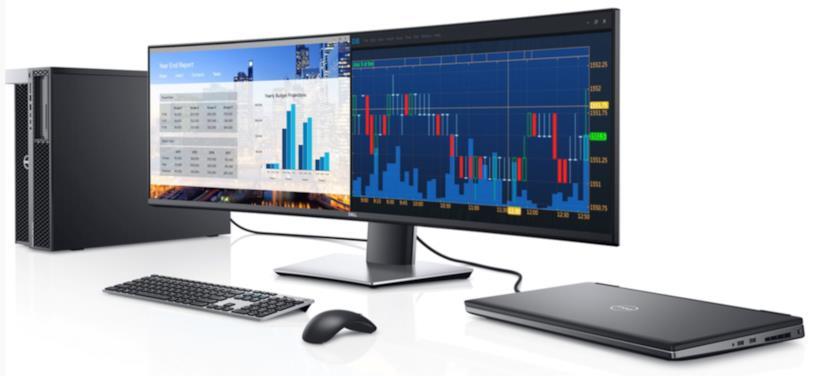 """Il monitor Dell da 49"""" collegato ad altri prodotti in una immagine stampa"""