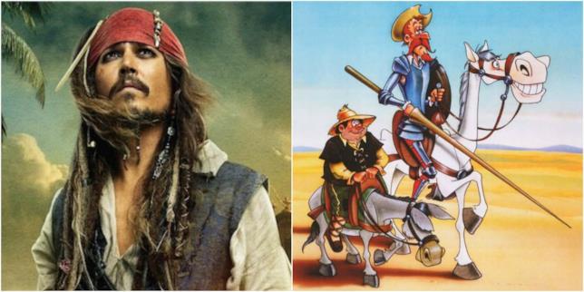 Un primo piano di Jack Sparrow e un'illustrazione di Don Chisciotte