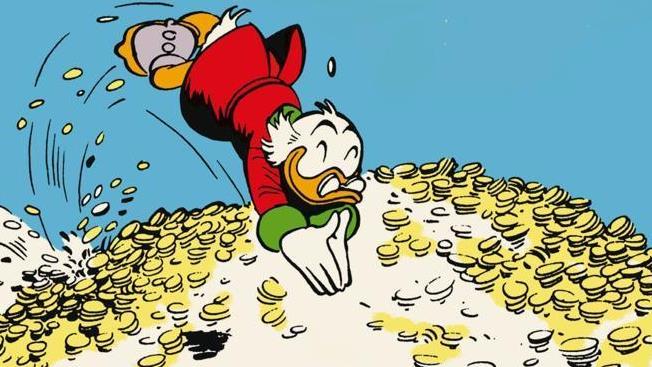 Paperon de Paperoni si tuffa in un mare di monete