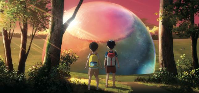 Aoyama e il suo amico in una scena di Penguin Highway