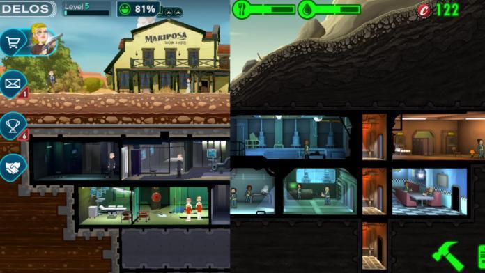 Immagine di confronto tra Westworld e Fallout Shelter