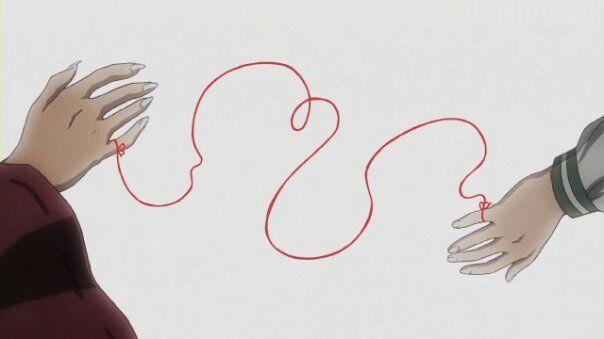 Particolare della sigla di Inuyasha in cui è visibile il Filo Rosso che lega i due protagonisti