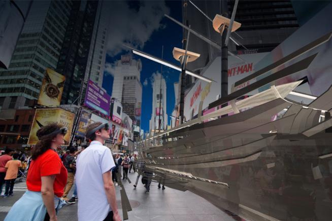 Un'immagine dalla mostra in realtà aumentata di New York