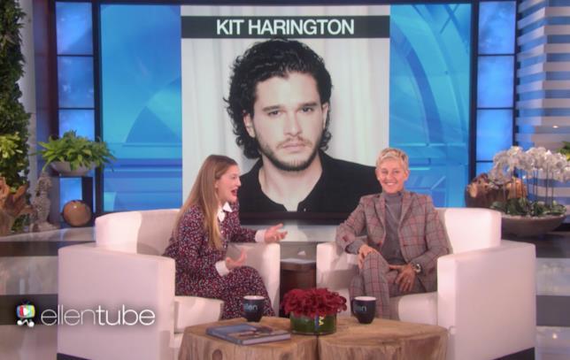 La reazione di Drew Barrymore alla vista di Kit Harington