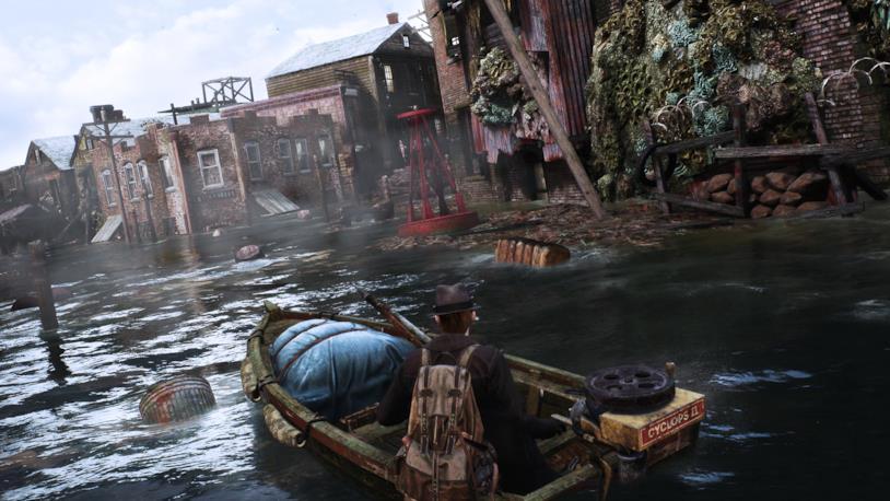 The Sinking City in uno screenshot che mostra l'esplorazione open world