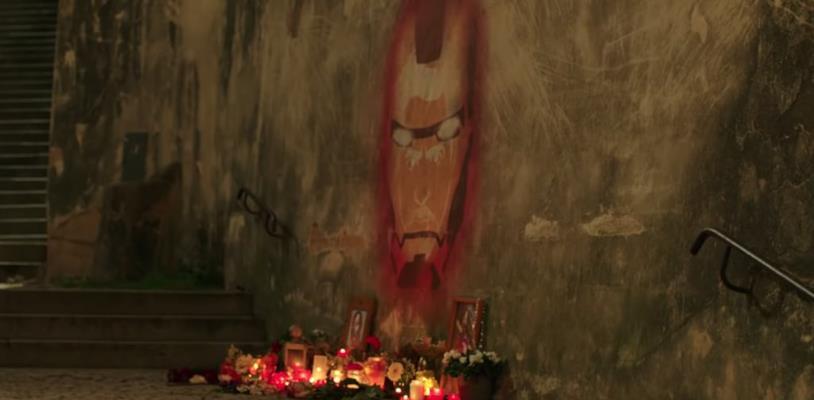 Un murale dedicato ad Iron Man a Venezia