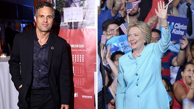 Mark Ruffalo a un evento ufficiale e Hillary Clinton durante la campagna elettorale