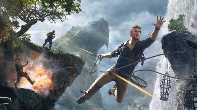Nathan Drake in una scena d'azione di Uncharted 4