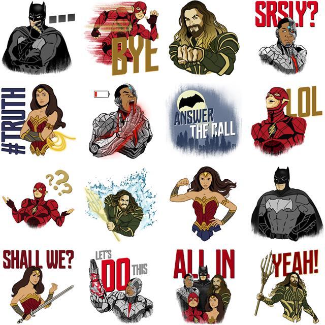 Lo sticker set con tutte le varianti di Justice League