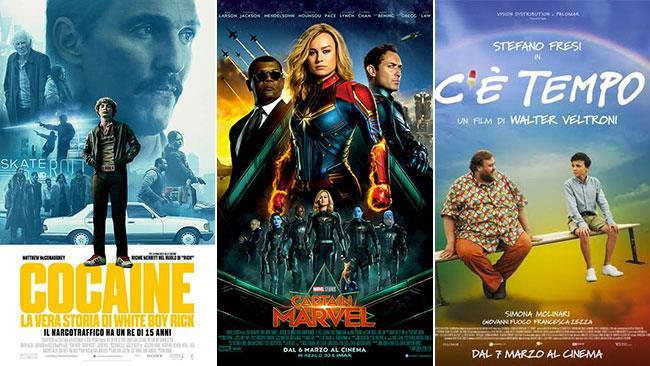 I poster dei film Cocaine - La vera storia di White Boy Rick, Captain Marvel, C'è tempo