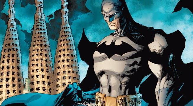 Mezzobusto disegnato di Batman con la Sagrada Familia sullo sfondo
