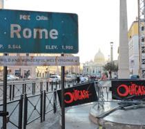 Il cartello Rome all'ingresso del Red Carpet di Outcast