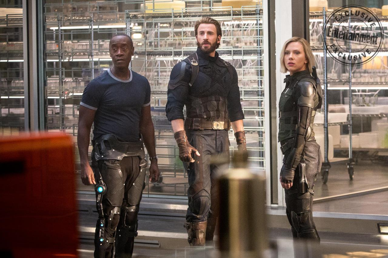 War Machine, Capitan America e Vedova Nera in Avengers: Infinity War