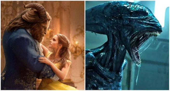 Un collage tra La Bella e la Bestia e Alien: Covenant