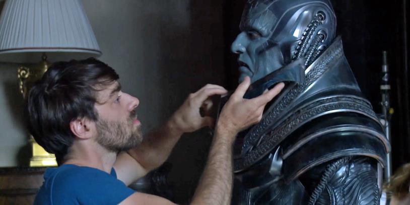 Oscar isaac al trucco sul set di X-Men: Apocalisse
