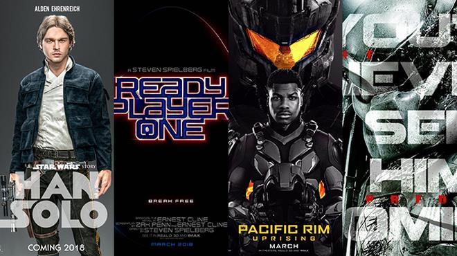 I poster di Solo: A Star Wars Story, Ready Player One, Pacific Rim: La Rivolta, The Predator