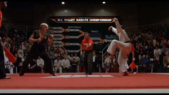 I protagonisti in una delle scene finali di Karate Kid