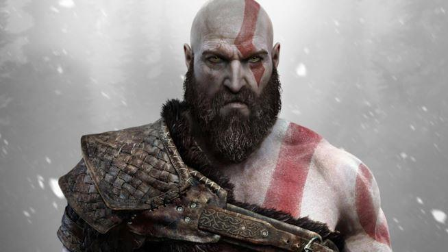 Un primo piano di Kratos da God of War per PS4