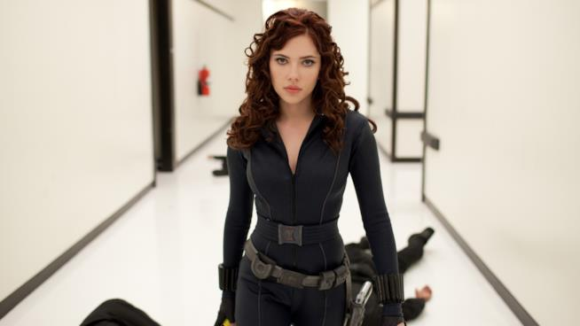 L'attrice Scarlett Johansson nei panni della Vedova Nera nel film Iron Man 2