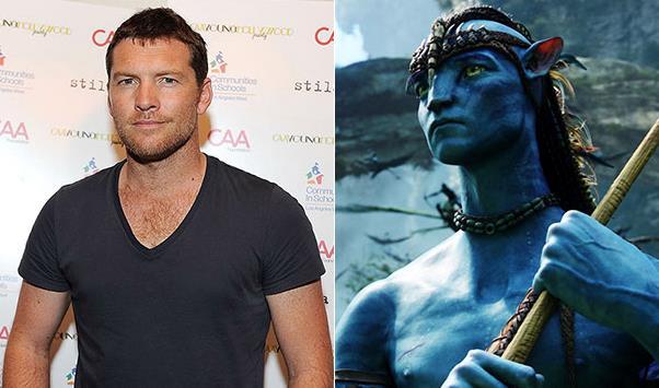 Un collage tra Sam Worthington e Avatar 2