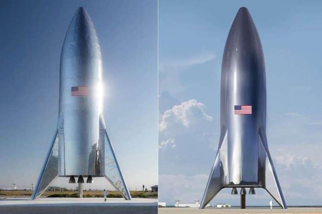A sinistra il prototipo del nuovo razzo Starship, a destra una sua rappresentazione virtuale