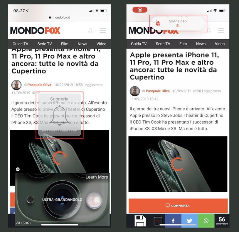 Screen della modalità 'Silenzioso' su iOS 12 (sinistra) e iOS 13 (destra)