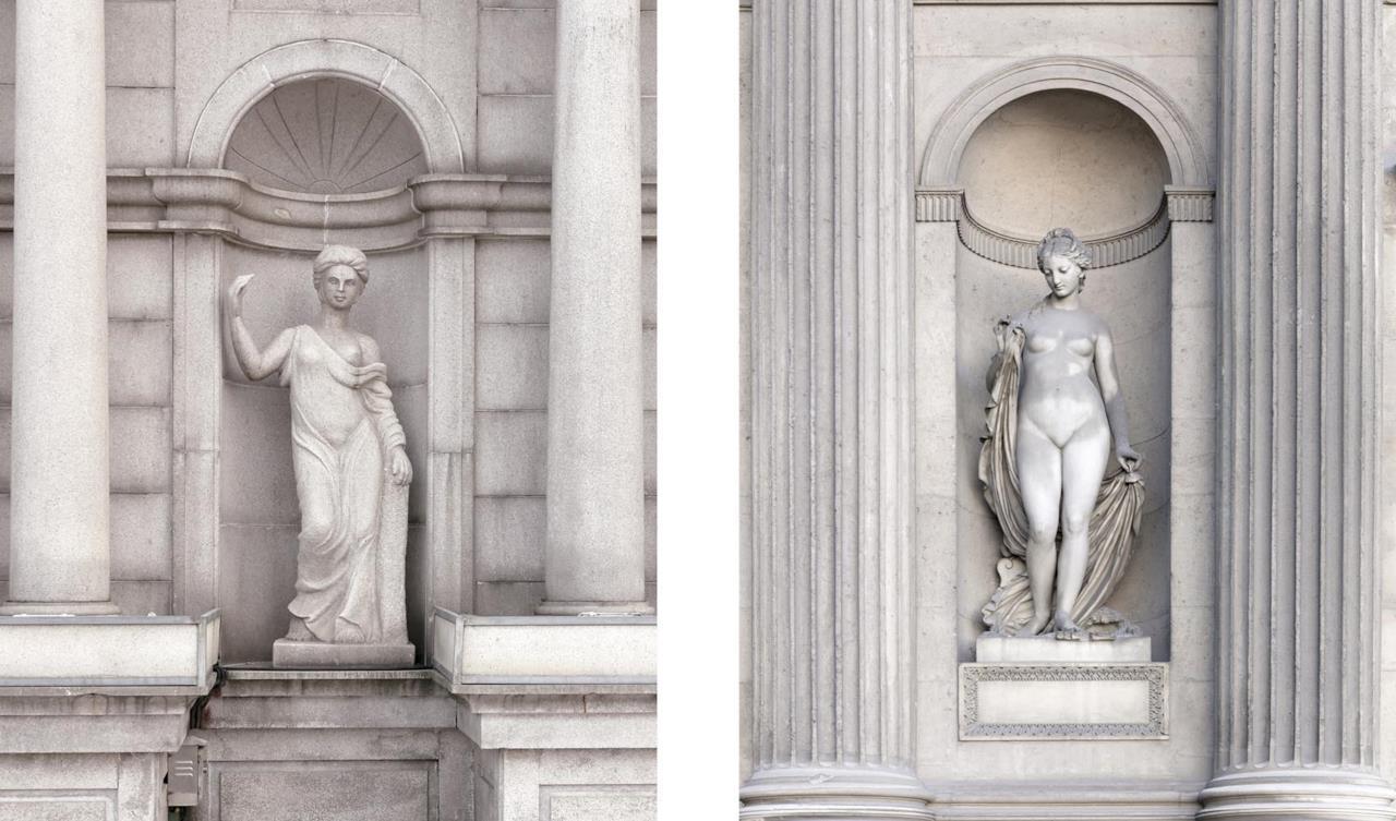 I dettagli di una statua di Tianducheng (sinistra) e quella di Parigi (destra)